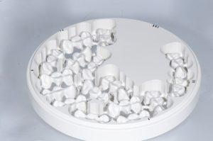 Bild aus dem Versuchsaufbau. Dreigliedrige PEEK-Brücken aus einem Master-Datensatz